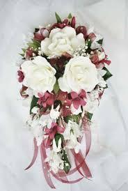 Silk Wedding Flowers Burgundy Silk Wedding Flower Ideas Cascading Bridal Bouquet