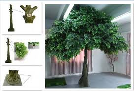 gre011 10ft white artificial tree with wood banyan
