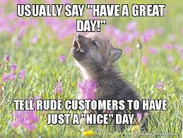 Have A Nice Day Meme - usually say have a great day tell rude customers to have just a