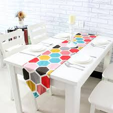 home decor table runner colorful canvas cotton ribbon rustic geometric home decor table