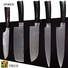 vg10 kitchen knives aliexpress buy zemen damascus knives vg10 kitchen knives 8