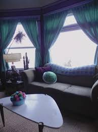 grey couch purple accents teal curtains for the home living