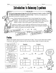 introduction to balancing chemical equations worksheet high