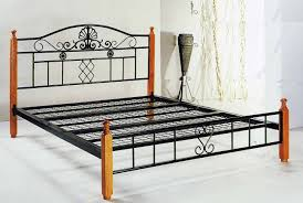 Wood And Metal Bed Frame Black Carving Metal Bed Frame With Headboard And Four Brown Wooden