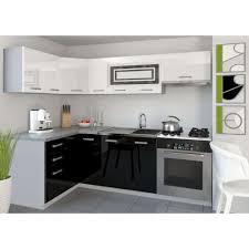 cuisine équipée blanc laqué justhome lidja p l cuisine équipée complète 130x230 cm couleur noir