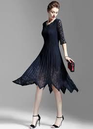 midi dress asymmetric navy lace chiffon midi dress with layered v neck md13