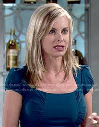 ashley s hairstyles from the young and restless ashley s teal dress with ruched sides on the young and the