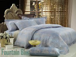 fountain blue jacquard luxury linens queen bedding duvet cover