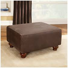 amazon com sure fit stretch leather ottoman slipcover brown
