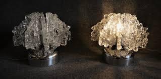 set de table vintage lampes de table vintage en verre et en métal chromé set de 2 en