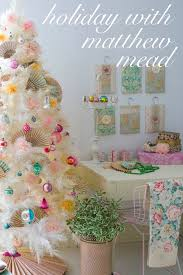 white tree and pastel ornaments and decor