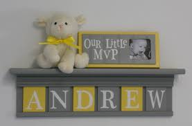 Nursery Wall Decor Letters Baby Boy Room Decoration Name Nursery Decor Shelf Gray With