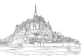 mont saint michel coloring page free printable coloring pages