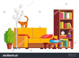 modern minimalist design room interior sofa stock vector 645085303