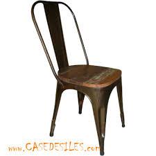 chaise coloniale chaise industrielle acier bois récup vieilli 1810