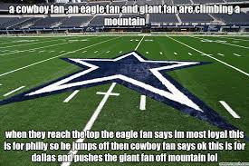 Cowboy Fan Memes - cowboy fan an eagle fan and giant fan are climbing a mountain