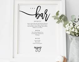 wedding bar menu template drink menu template etsy