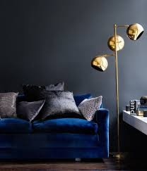 deep blue velvet sofa deep blue velvet sofa dark grey walls gold coloured spherical