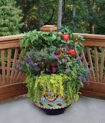 mixing fruit vegetables and flowers in a container