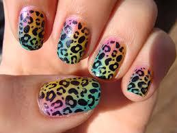 cute leopard print nail art design idea for girls