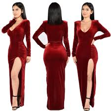 night club dresses women 2017 v neck solid long sleeved gold