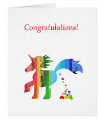 congratulations card gc006 unicorn congratulations card baby shower heart