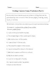 nouns worksheets concrete nouns worksheets