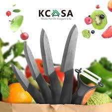 kcasa kc kf5 5 pieces black blade zirconia ceramic knife set multi
