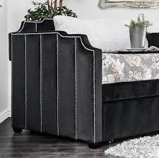 esperanza black padded flannelette fabric twin size daybed w trundle
