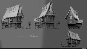 Artstation Concept Wood House Szabat