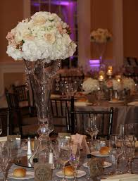 tall crystal glass vase centerpieces for wedding ceremony table