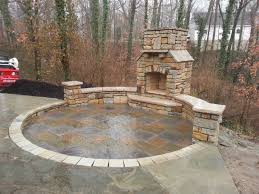 patio stone pavers paver patio natural stone seating wall outdoor fireplace