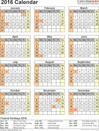 2016 calendar 16 free printable excel templates xls