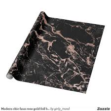 gold foil wrap modern chic faux gold foil black marble wrapping paper