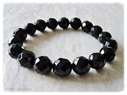 black onyx beads bracelet images Chunky faceted black onyx beaded stretch fashion bracelet silver jpg
