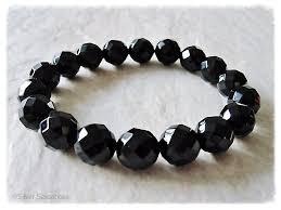black onyx beads bracelet images Chunky faceted black onyx beaded stretch fashion bracelet silver jpg
