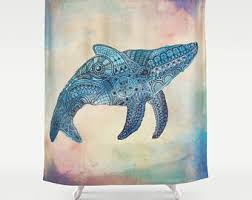 Whale Bathroom Accessories by Whale Shower Curtain Etsy