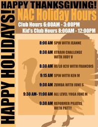 thanksgiving hours newtown athletic club
