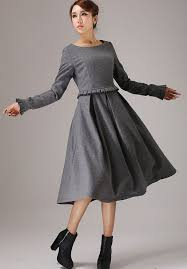 wool dress gray dress maxi dress sleeves dress wool dress plus