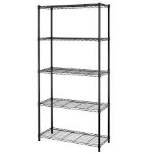 Wire Rack Shelf Amazon Com 5 Shelf Home Style Black Steel Wire Shelving 36 By 14