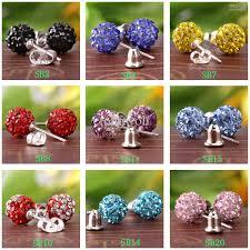 choose color 2018 disco cz crystal ball bead stud earring 8mm you choose color