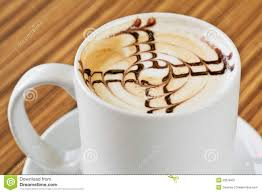 white cup of coffee with chocolate decoration stock image image