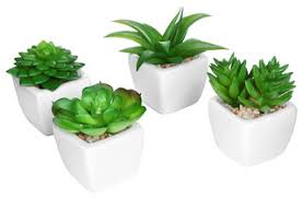 artificial plants artificial 4 succulent plant set in ceramic pots white