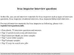 Hvac Resume Sample by Hvac Inspector Interview Questions