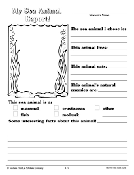 my sea animal report 2nd 3rd grade worksheet lesson planet
