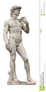 david statue by ancient sculptor michelangelo isolated on white