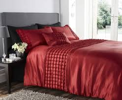 Red Bedding Beautiful Red Colour Stylish Ruffles Faux Silk Duvet Cover Luxury