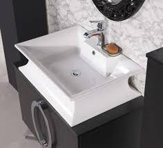 bathroom white chinese porcelain vessel sink silver polished