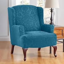 Wingback Chair Slipcover Pattern Decorating Enchanting Burgundy Stretch Wing Chair Slipcover Ideas