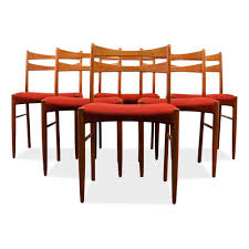vintage danish teak dining chairs in wine red fabric set of 6 for